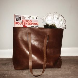 Whipping Post  brown leather tote